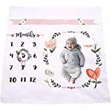 Baby Monthly Milestone Blanket | Throw for Infant & Babies 0-3 Months, 3-6, 6-9, 9-12 Photography Backdrop Photo Prop for Newborn Boy & Girl - New Mom Baby Shower Gift- Blanket Only
