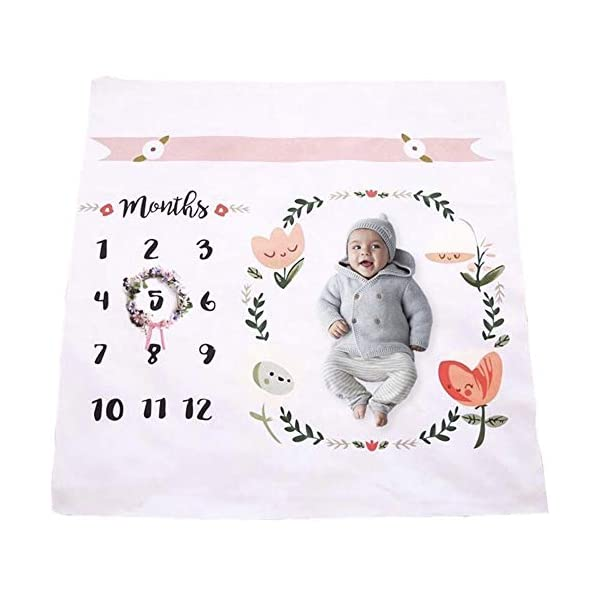 Baby Monthly Milestone Blanket | Throw for Infant & Babies 0-3 Months, 3-6, 6-9, 9-12 Photography Backdrop Photo Prop for Newborn Boy & Girl – New Mom Baby Shower Gift – Blanket Only