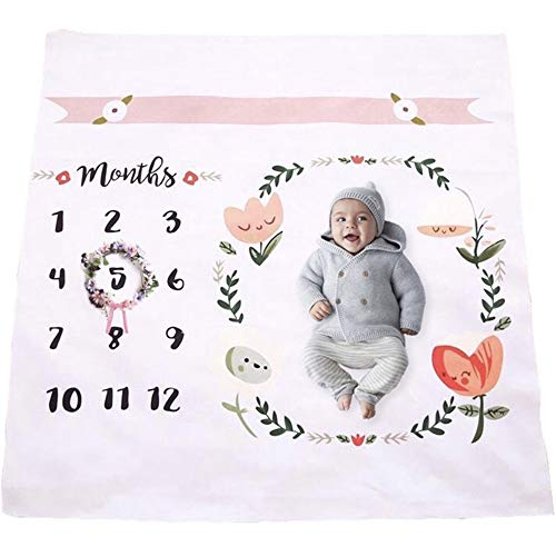 Baby Monthly Milestone Blanket | Throw for Infant & Babies 0-3 Months, 3-6, 6-9, 9-12 Photography Backdrop Photo Prop for Newborn Boy & Girl - New Mom Baby Shower Gift