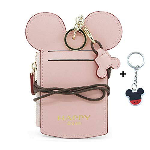 YIEASDA Travel Neck Pouch, Cute Small Fashion Student ID Card Holder Coin Wallet Purse for Women/Girls/Children (Pink)