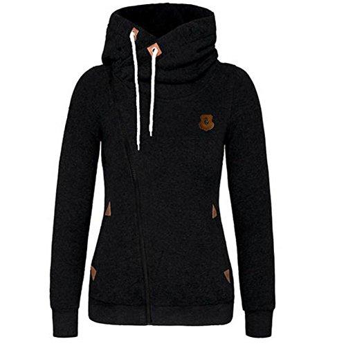 (Newbestyle Womens Casual Zipper Fleece Hoodies Turtleneck Jacket Pocket Sweatshirt Coat Black XL)