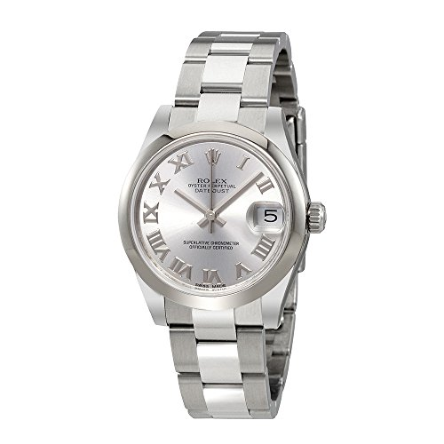Rolex Oyster Perpetual Datejust Rhodium Dial Automatic Ladies Stainless Steel Watch 178240RRO