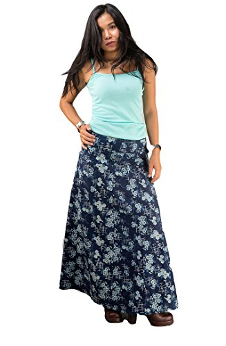Cotton Maxi Skirt for Women Long A-line Wrap Soft Indigo Blue Sarong Floral Ankle Length