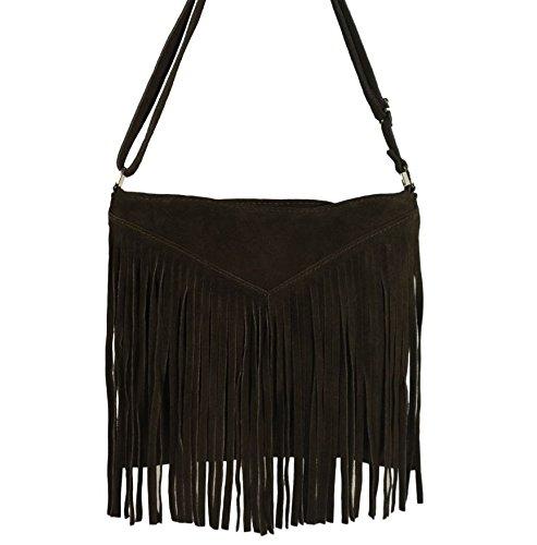 Beautiful Italian Suede Shoulder Bag / Tassel with Fringes, Carelli Italia PESARO brown