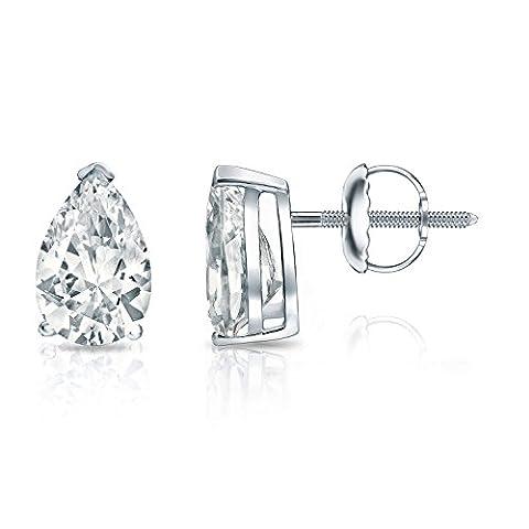 IGI Certified 14k White Gold V-End Prong Pear Shape Diamond Stud Earrings (2 cttw, H-I, I1-I2) SB - I1 Pear Earrings