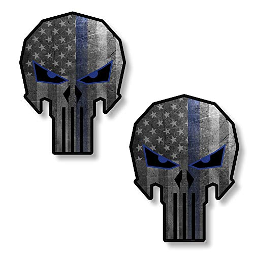 x2 Punisher Decal for Car Thin Blue Line Skull Sticker Truck 4