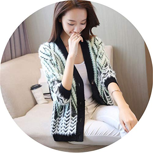 Women Elegant Jackets Outerwear Girls Slim V Neck Single Breated Knit Coat,Green,S