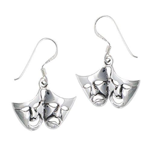 Tragedy Earrings Comedy (.925 Sterling Silver Comedy Tragedy Dangle Earrings)