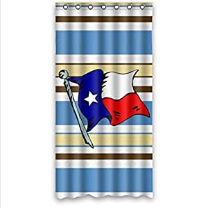 Best Seller Texas State Flag And Blue And Brown Stripe Custom 100% Polyester Waterproof Shower Curtain 36 x 72