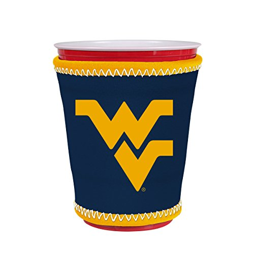 Kolder NCAA Logo Coolie Cup Holder Sleeve Fitting Plastic Cups, Pint Glasses, Coffee Cups, Ice Cream, Etc. - Neoprene and Bottomless (West Virginia Mountaineers)