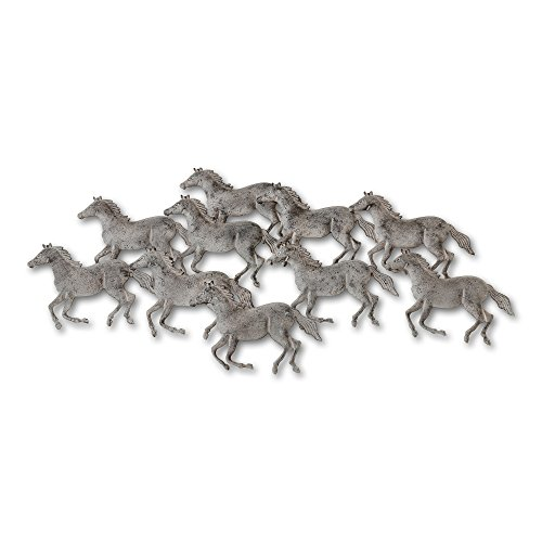 Stallions and Mares, Herd of Wild Native Horses, Equine Metal Wall Art, 10 Horse Composition, Hand Crafted, Wall Art, Bas Relief Sculpture, Hanger Loops Back, 34 1/2 W x 16 L Inches, By WHW Review