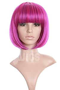 Stunning 2-tone Pink and Purple bob style wig straight with fringe by Wonderland Wigs