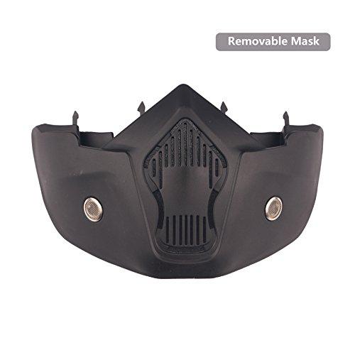 Lunettes de moto Masque amovible, Harley Style Casque de protection de rembourrage Lunettes de soleil, Route d'équitation UV Lunettes de moto, mixte femme (Transparent Lens)
