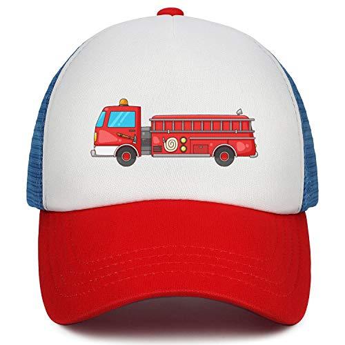 flySpacs Boys& Girls Low Profile Dad Hat Baseball Cap Adjustable Kids Trucker Hats (Red Firefighter Fire)