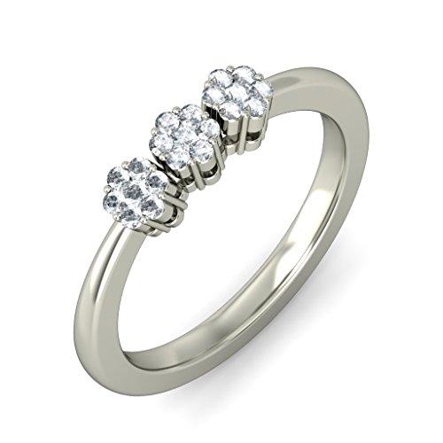 18K Or Blanc, 0,23carat Diamant Taille ronde (IJ | SI) en diamant