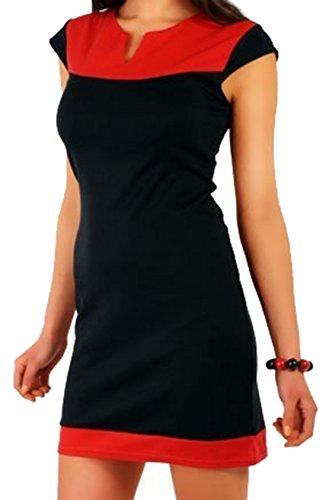 Mischung Kurzärmeliges Kleid,Rot,Xl