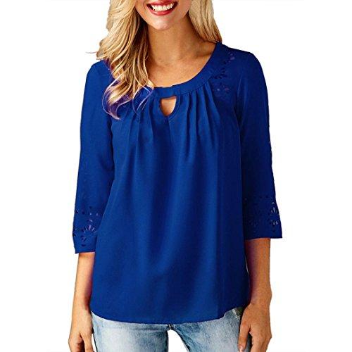 Blouse Bring Femme Chemisier T Soie Manches Tops Chic de Bleu Shirt Solide Trimestre en Mousseline 7BxROqUB
