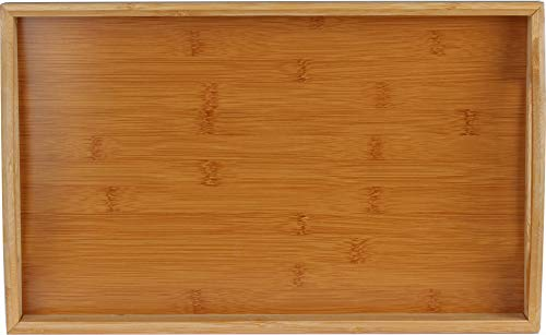Serving tray bamboo - wooden tray with handles - Great for dinner trays, tea tray, bar tray, breakfast Tray, or any food tray - good for parties or bed tray by HOME IT- (Image #1)