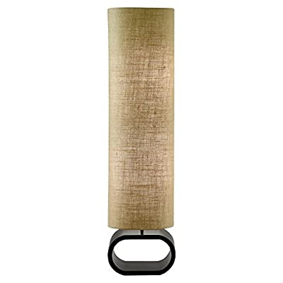 Adesso 1520-02 Harmony Floor Lamp, White/Black - Black painted oval bent wood base Cylinder shade in natural linen weave fabric Comes with foot step switch - living-room-decor, living-room, floor-lamps - 41blx8857RL. SS400  -