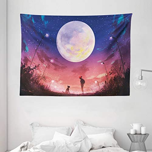 Ambesonne Fantasy Tapestry, Young Woman with a Dog Under Huge Moon Starry Sky Celestial Friendship Art, Wide Wall Hanging for Bedroom Living Room Dorm, 80 X 60 , Coral Navy
