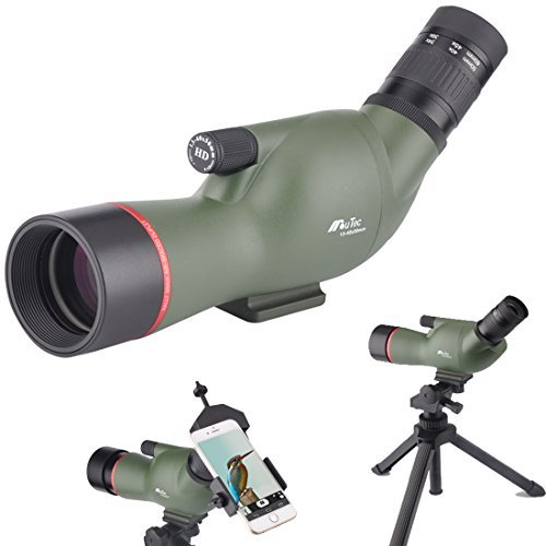 Moutec 13-40X50 Spotting Scope- Waterproof Scope for Outdoor Bird Watching Animal Watching Target Shooting Hunting with Tripod and Digiscoping Adapter-Get the World into Screen