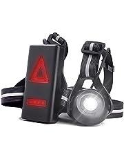 Welltop Running Lights Lamp, oplaadbare borstzaklamp 90 ° instelbare stralingshoek Waterdicht buiten LED-nachtlampje, 2 verlichtingsmodi met USB-kabel voor nachtlopers, joggers, wandelen, kamperen