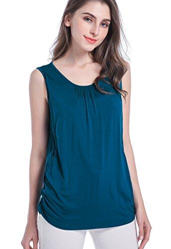 SUIEK Maternity Nursing Shirt Breastfeeding Tank Tops Cami (Medium, Atrovirens)
