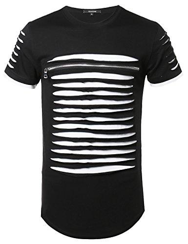 Youstar Cut Out Unique Design Front Zipper Short Sleeves Tee Shirt Black White XL (Youstar Mens Short Sleeve Cut Out Zipper Shirt)