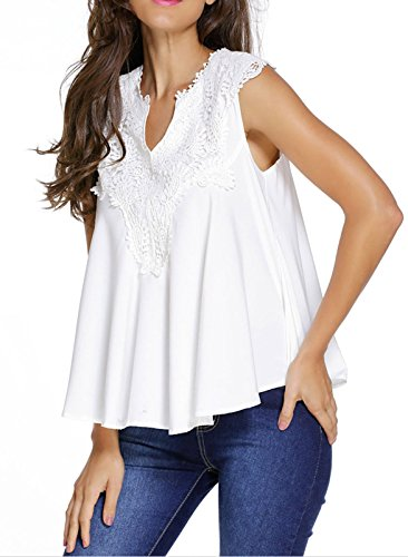 Elady Sexy Embroidered Applique Blouse Top For Women V Neck Shirt White (L)