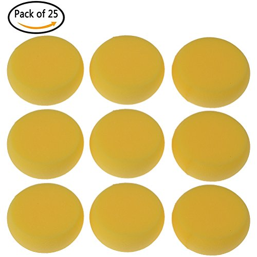Painting Shapes Wall (Buytra 25 Pack Synthetic Artist Paint Sponges Round Watercolor Sponges for Painting, Craft, Ceramics, Pottery, Wall, Yellow)