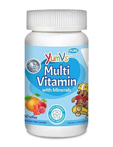 YUM-V's MultiVitamin Chewable Jellies (Gummies) for Kids, Fruit Flavor (60 Ct); Dietary Supplement w/Vitamins & Minerals- Vitamin D 600 IU, Vitamins B12, B6, E, C, A, Zinc, Kosher, Halal, Gluten Free