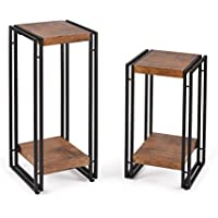 FIVEGIVEN End Table Set of 2 Living Room Side Table Set for Bedroom Wood and Metal, Brown
