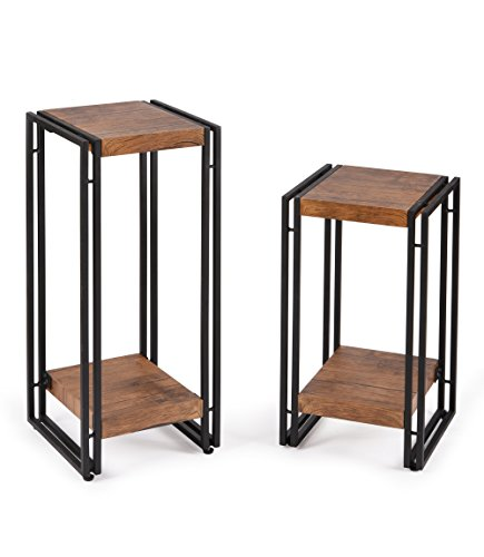 FIVEGIVEN Side Table Set of 2 for Bedroom End Table Set for Living Room Wood and Metal, - Set Side Bedroom Table