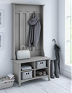 Hall Trees with Bench and Coat Racks - Cape Cod Gray Wood with Three Hooks and
