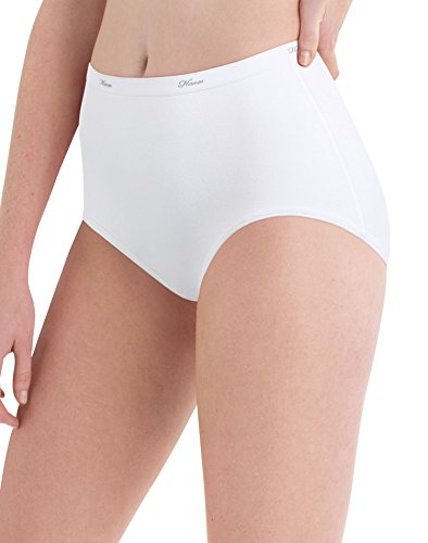 Hanes Women's Cotton Brief Panty, White, Size 6 (Pack of 10)