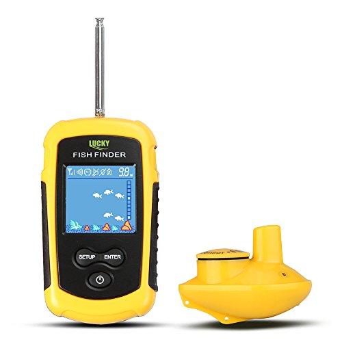 CHSEEO Drahtloser Fischfinder Fischfinder Fischdetektor Portable Angeln Sonar Sensor Beweglicher Fisch-Sucher-Tiefe Fischsucher LCD Tiefe Finder Echolot  1