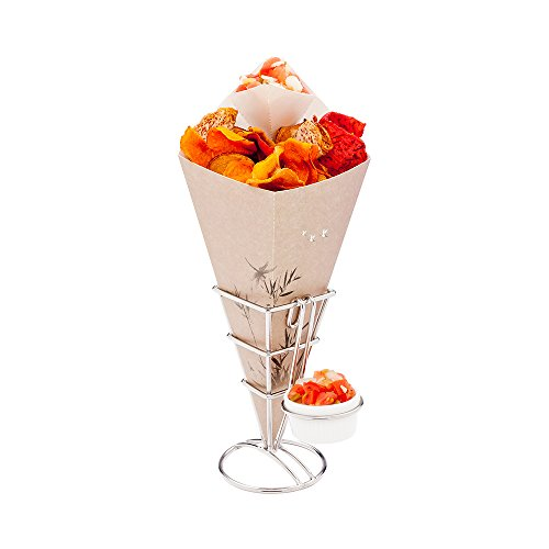 (Conetek 11.5-Inch Eco-Friendly Finger Food Cones with Built-in Condiment Dipping Pocket: Perfect for Appetizers - Food-Safe Paper Cone with Bamboo Print Styling - Disposable and Recyclable - 100-CT)