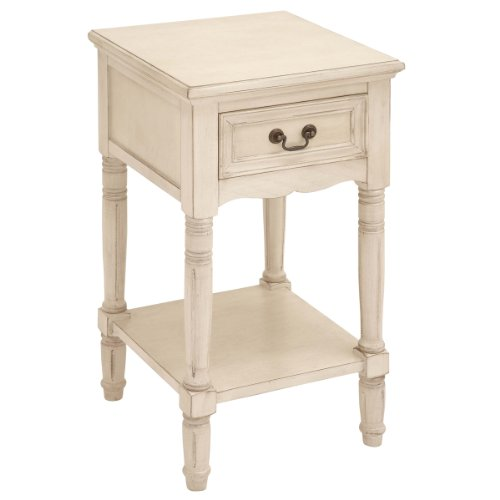 Antique White Wood Nightstand (Urban Designs Solid Wood Night Stand Table, Antiqued White)