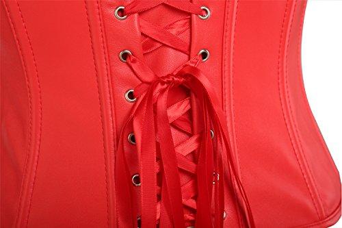 Intimo Con Bustier Bustino Sexy Modellante Waist Cintura Pelle Corsetto Donna cerniera Training MOLY di MISS Dimagramento Corset Trainer Rosso xnPwW07q6x