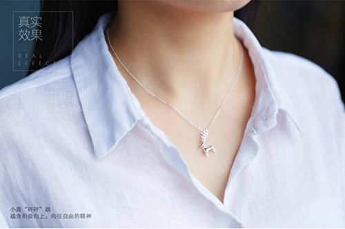 Generic S925 sterling silver necklace women girls lady Korean sweet little cute little animal deer elk necklace short paragraph clavicle chain