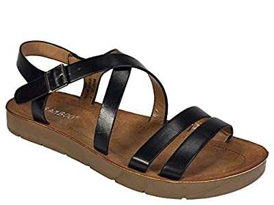 BAMBOO Women's Strappy Double Band Footbed Sandal