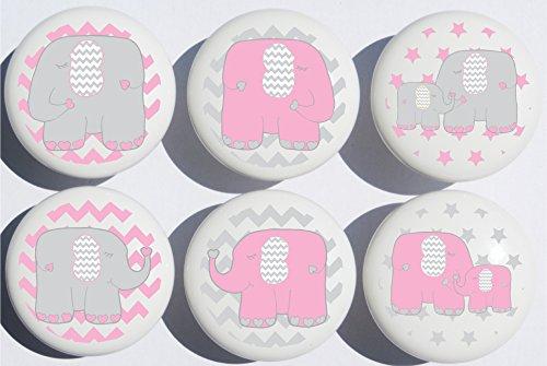 Pink Elephant Drawer Pulls / Elephant Nursery Decor - Elephant Dresser Knobs