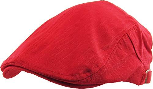 KBM-107 RED Solid Cotton Denim Newsboy Ivy Cabbie Adjustable Hat Cap -