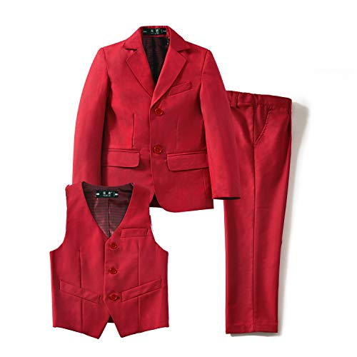 YuanLu Toddler Tuxedo Suits for Boys with Coat Vest and Pants Set Outfit Red Size 8