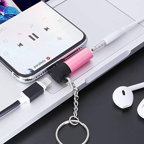 Adapter-Mini Eating Chicken 2in1 Adapter, 3.5 mm Audio Port and Charging Port, Audio Converter Support: 6/6 Plus /7/7 Plus/X/Xs Max/XR/Support i-o-s 12 or Above System, Support auto (Pink)