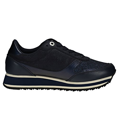 Retro Navy Femmes Tommy Midnight Hilfiger Metallic Runner Baskets Bw1nxTEqR