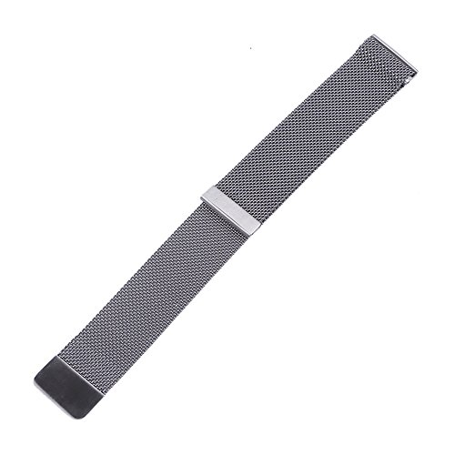Xuexy 20mm Quick Release Pins Milanese Loop Magnetic Buckle Stainless Steel Watch Band for 20mm Moto 360 2nd Gen 42mm 2015,20mm Pebble Time Round,Silver