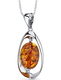 Baltic Amber Pendant Necklace Sterling Silver Cognac Color Large Oval Shape