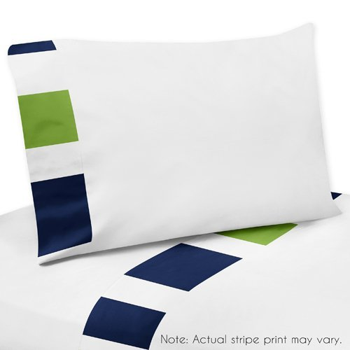 Sweet Jojo Designs 3-Piece Twin Sheet Set for Navy Blue, Lime Green and White Stripe Teen Bedding Collection