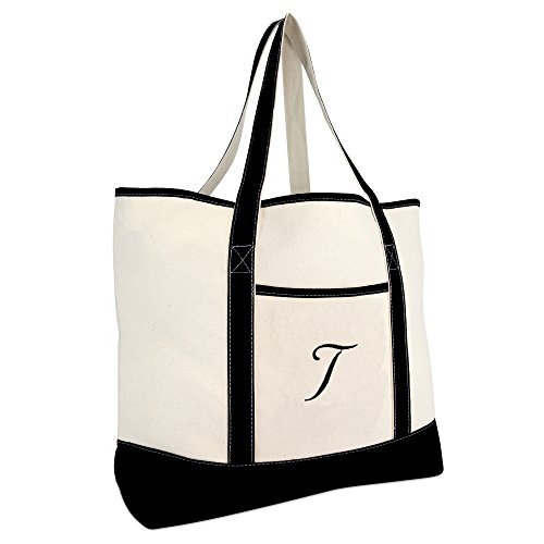 (DALIX Monogram Bag Personalized Totes For Women Open Top Black Letter T)